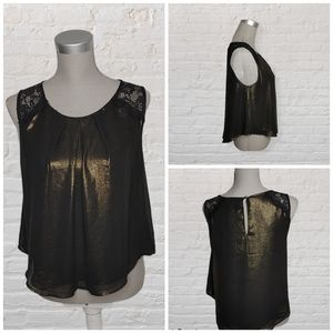 ASTR the label gold shimmer top size M